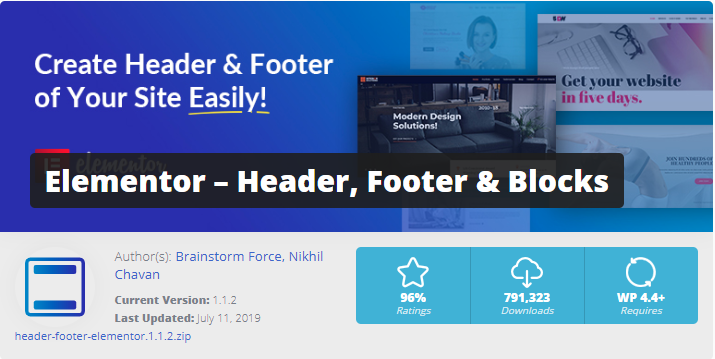 Elementor Page Builder- Header Footer add-ons