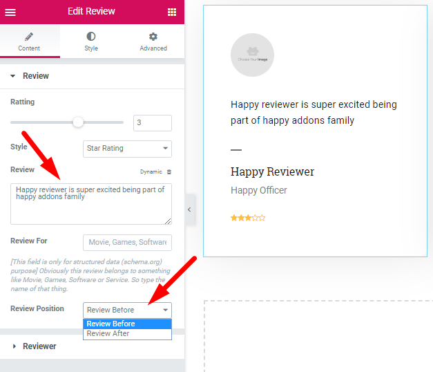 edit review details with elementor and happyaddons