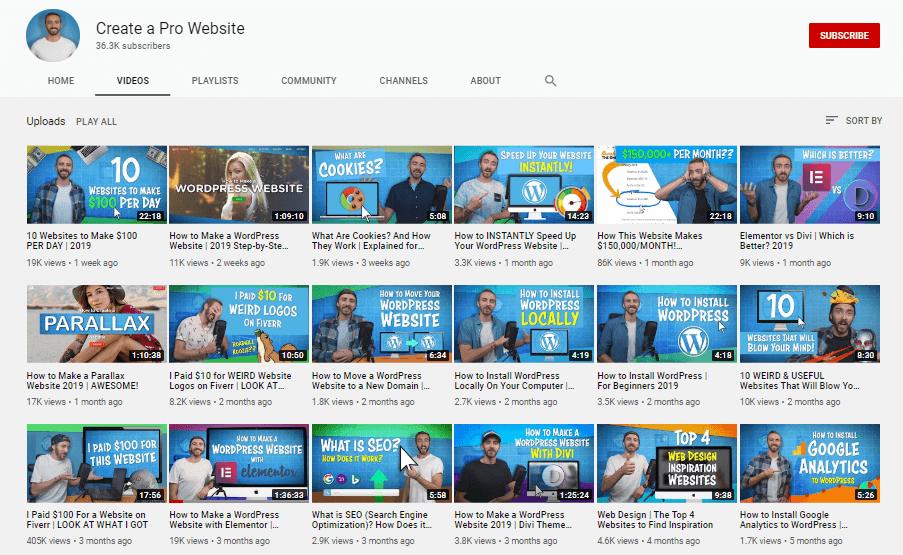 Elementor youtube channel