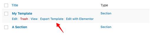 elementor wordpress:export template