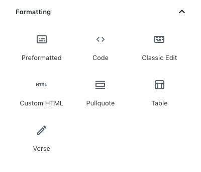 formatting blocks