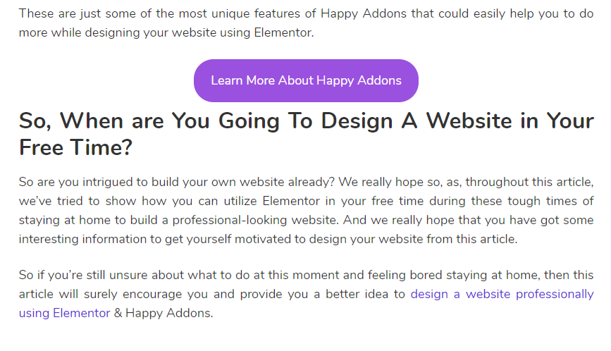 Cta button to improve your site performance