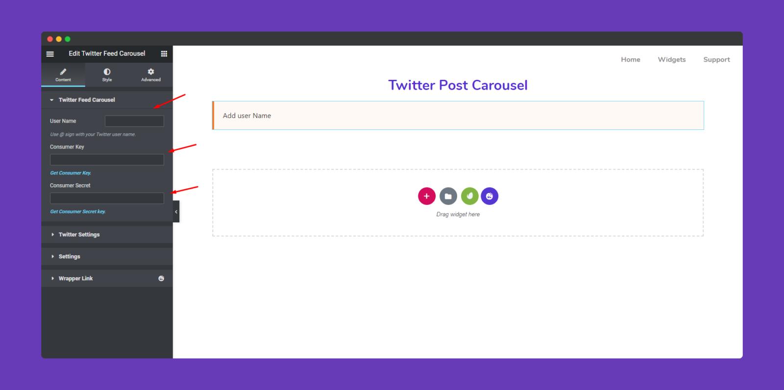 Twitter Feed Carousel Widget