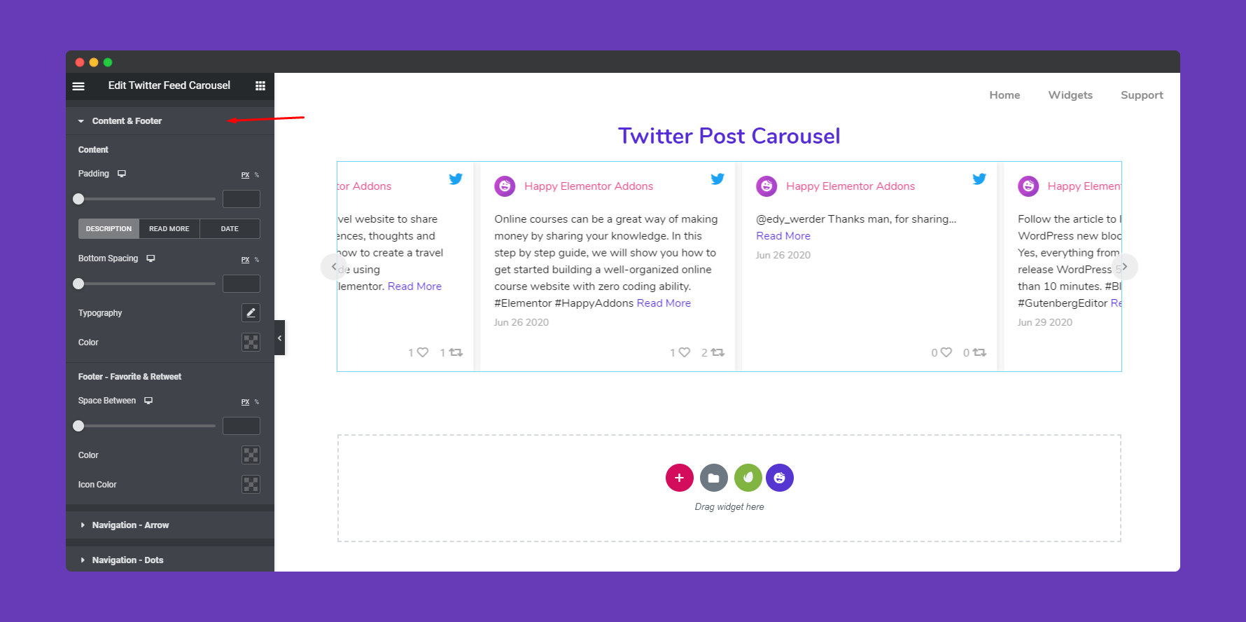 Content & Footer