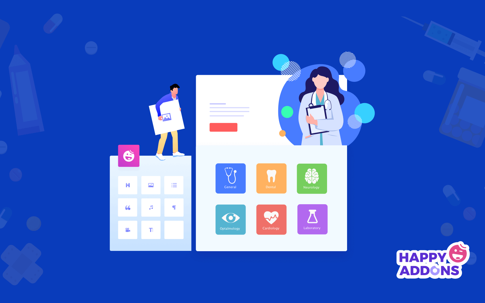 Medical website using elementor and happy addons