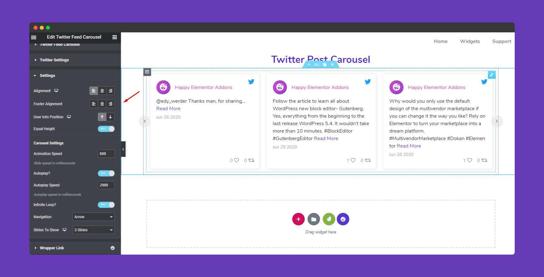 General Settings of Twitter Feed Carousel Widget