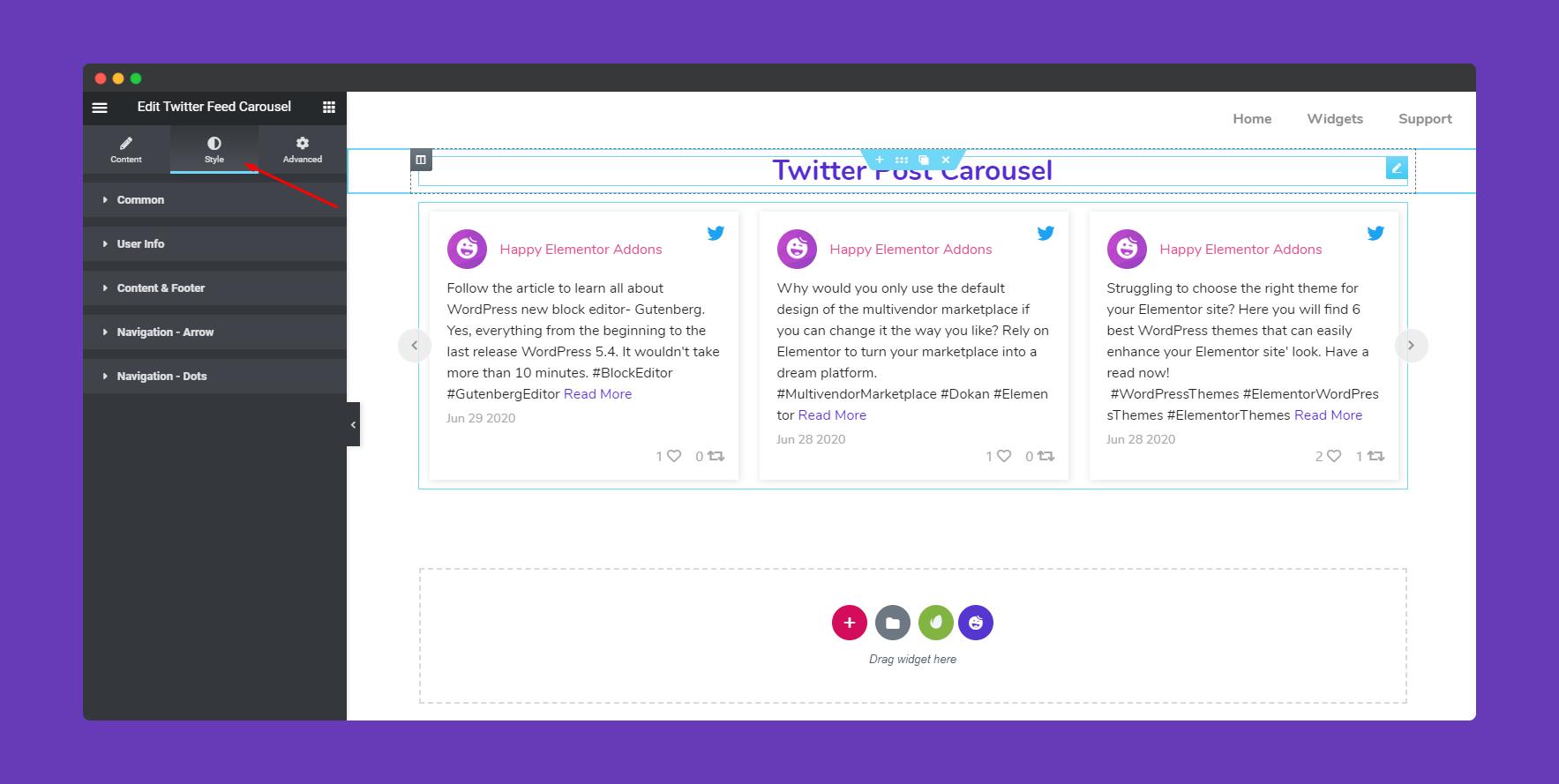 Stylize Twitter Feed Carousel Widget