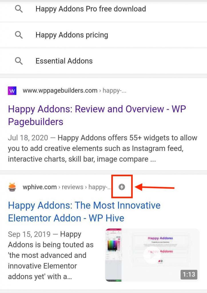 amp sign in search results