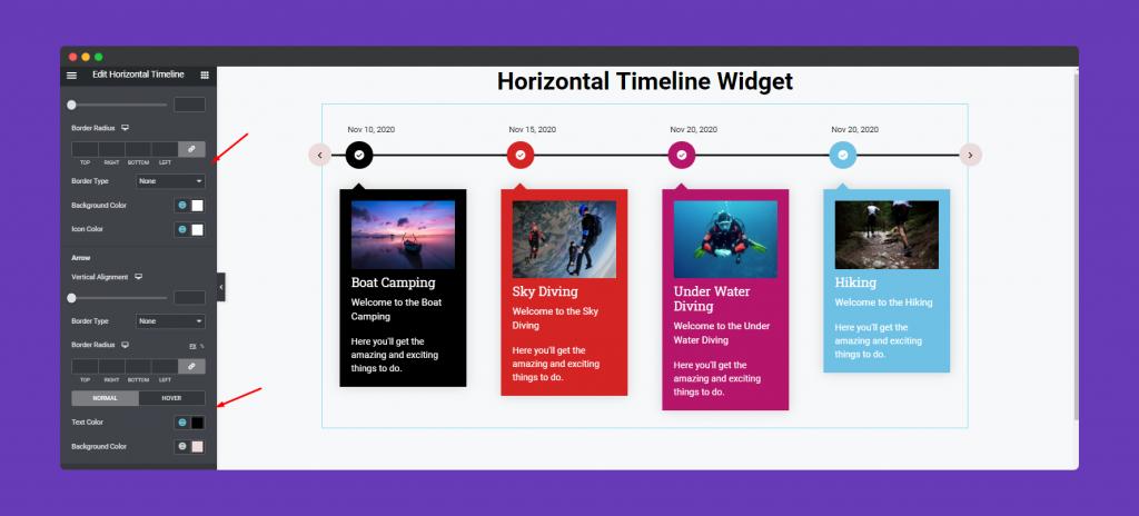 Horizontal Timeline Widget
