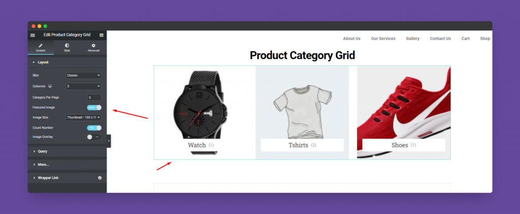 Product Category Grid widget