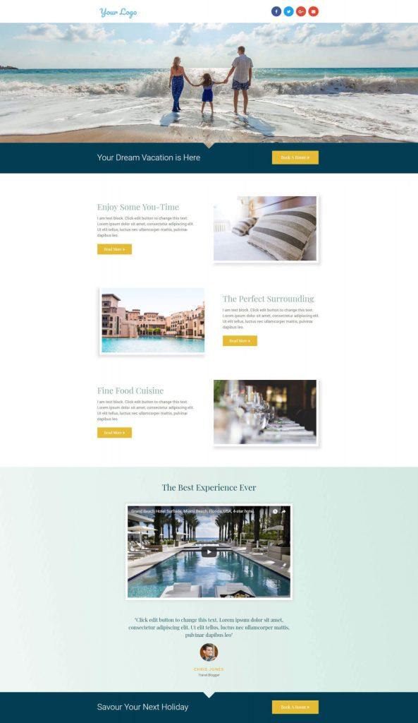 Landing-Page-Hotel Elementor pro templates