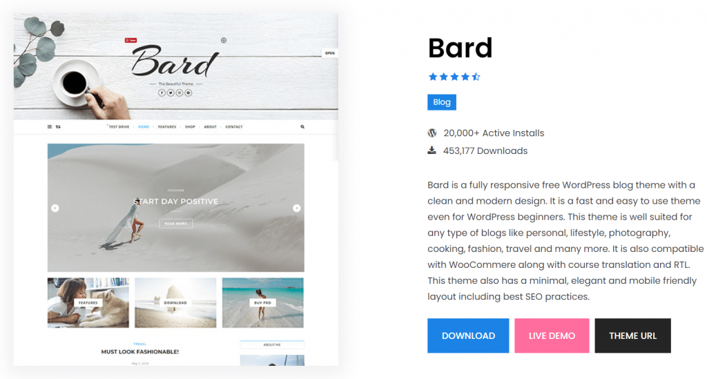 Bard- best free themes for Elementor