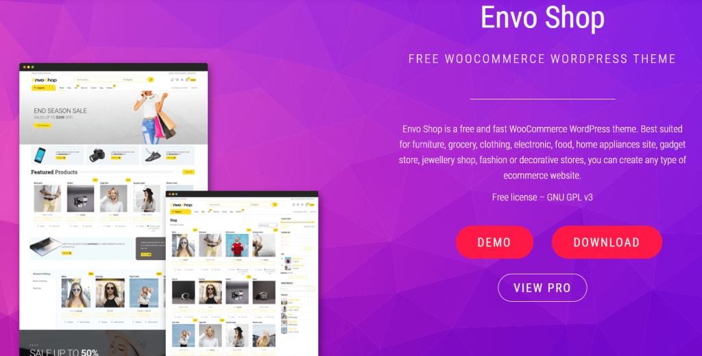 Envo Shop- best free themes for Elementor