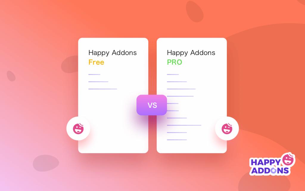 Happy Addons free vs happy addons pro