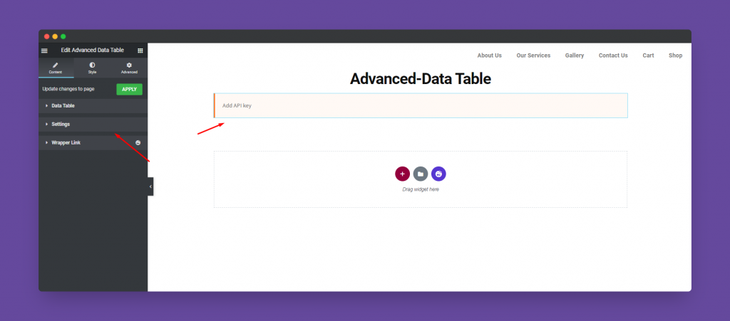 Advanced Data Table options