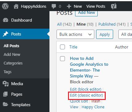 edit classic editor