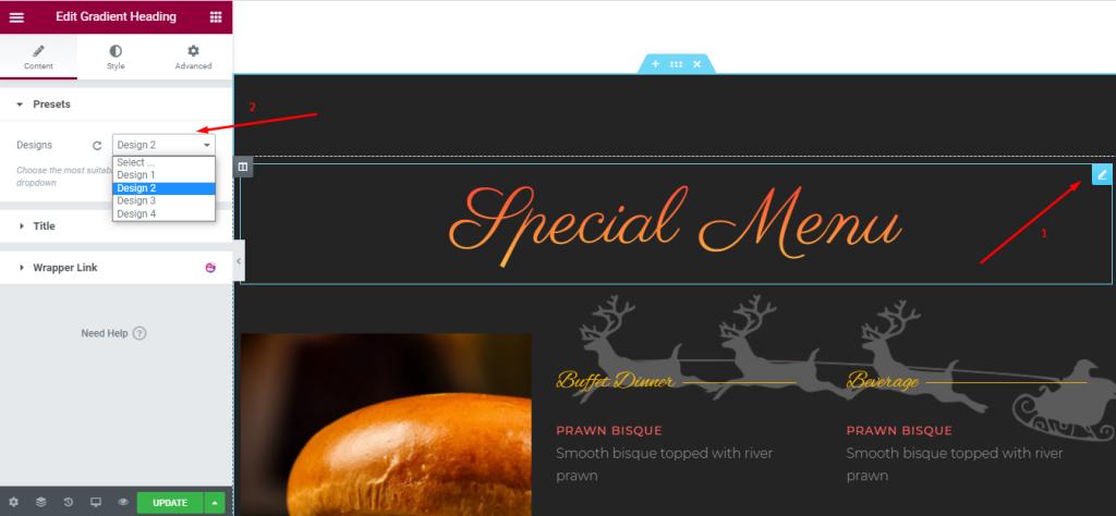 Customizing Restaurant Menu