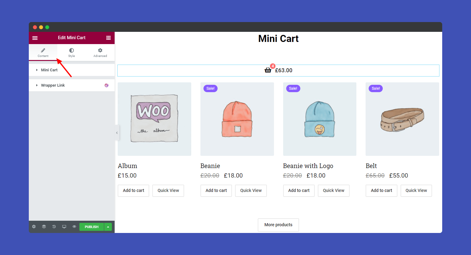 Mini Cart Content Section