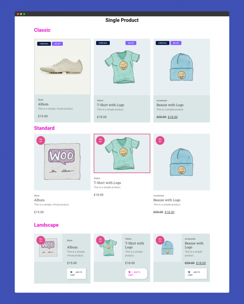 Final preview of Single Product widget