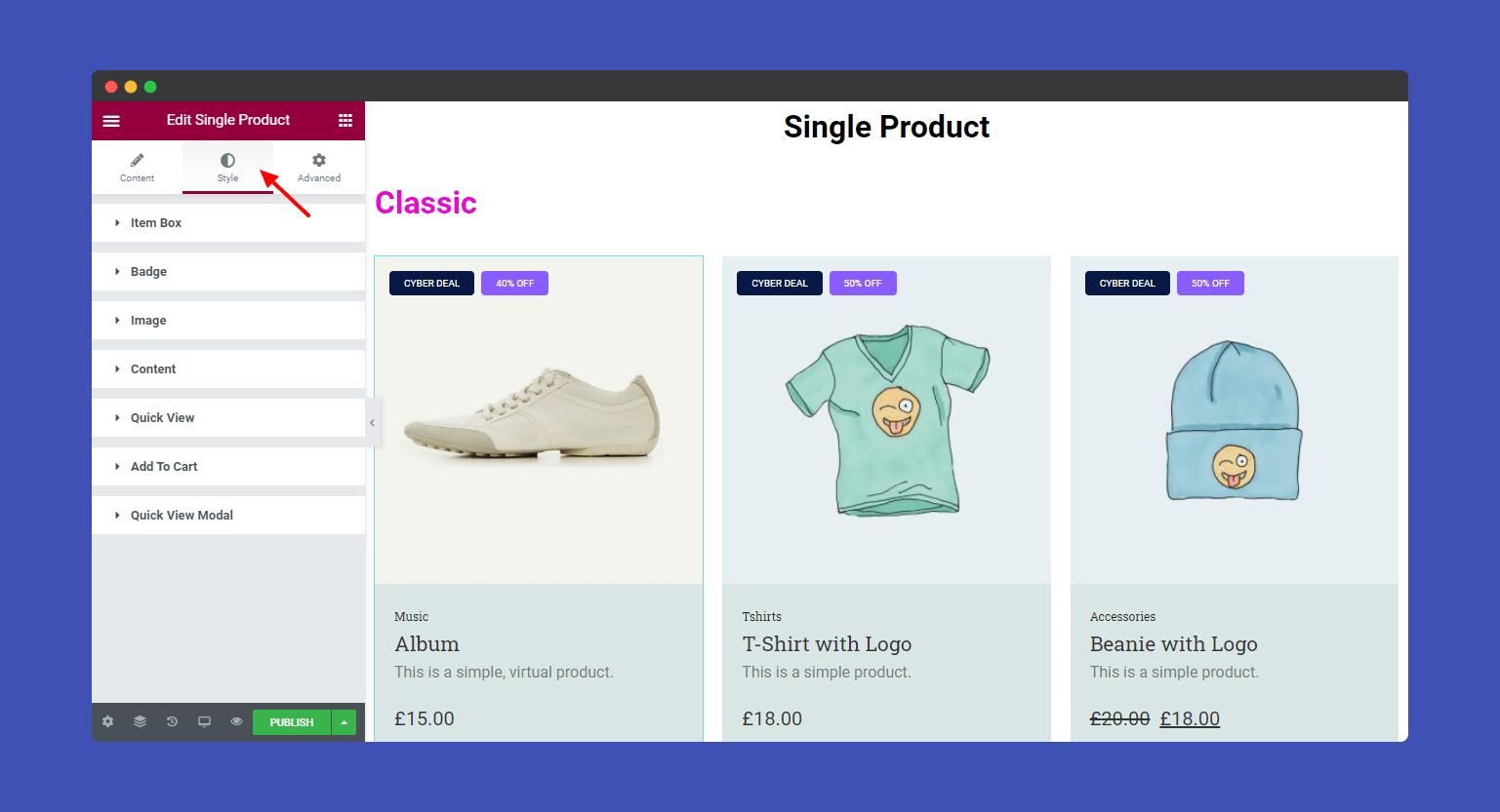 Single product style option