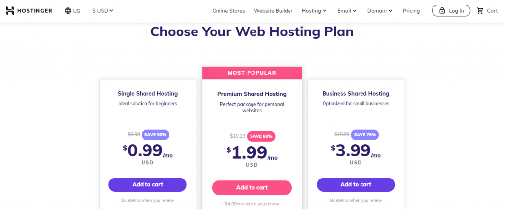 Hostinger Hosting Plan
