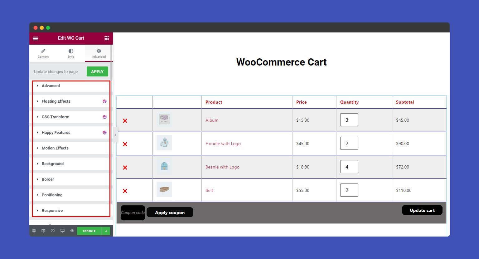 Advanced setting of WooCommerce Cart widgets