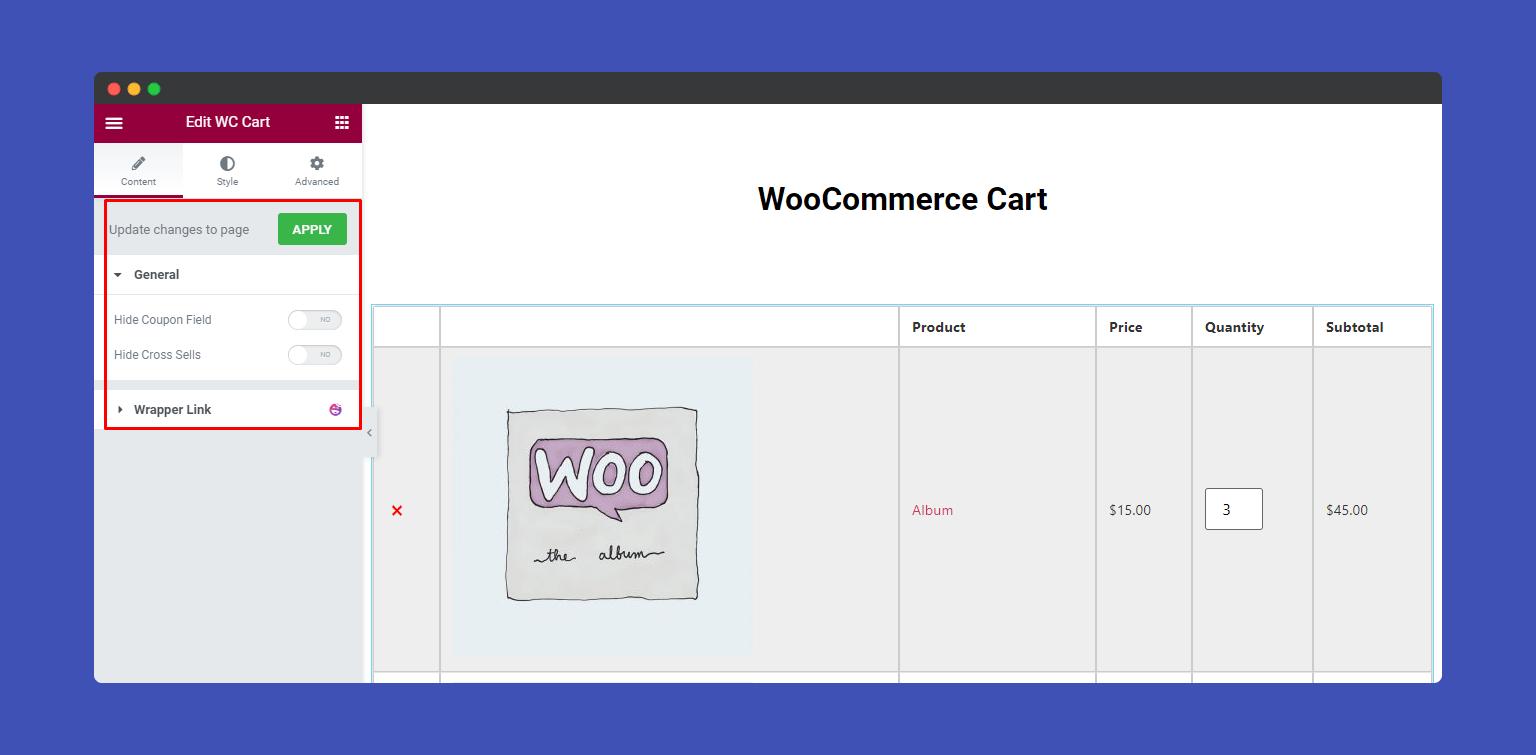 Content of WooCommerce Cart widgets
