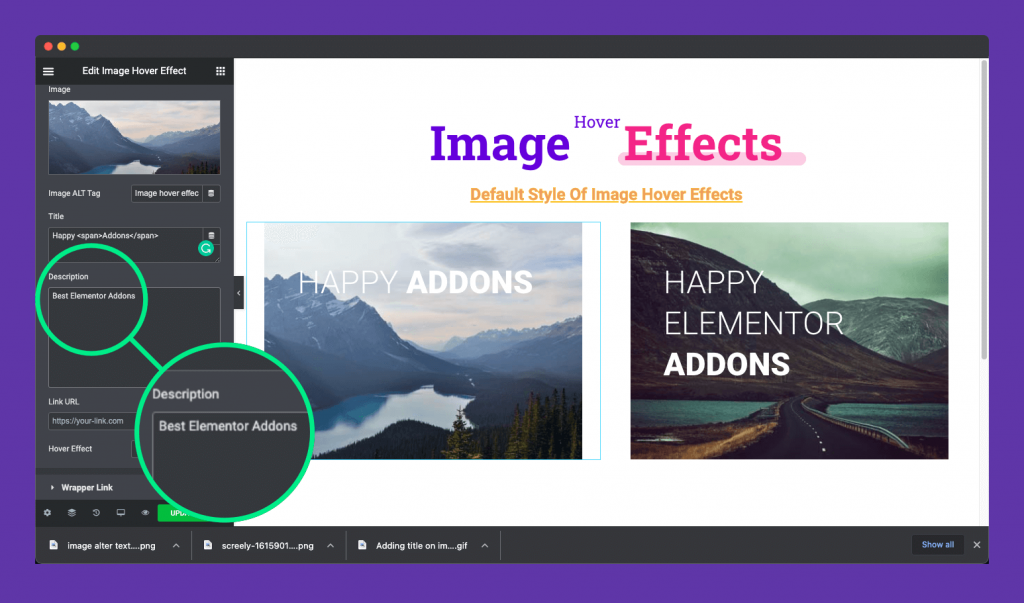 adding description to the image hover effect