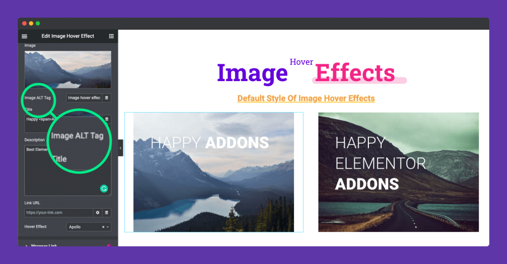 image alter text on image hover effect