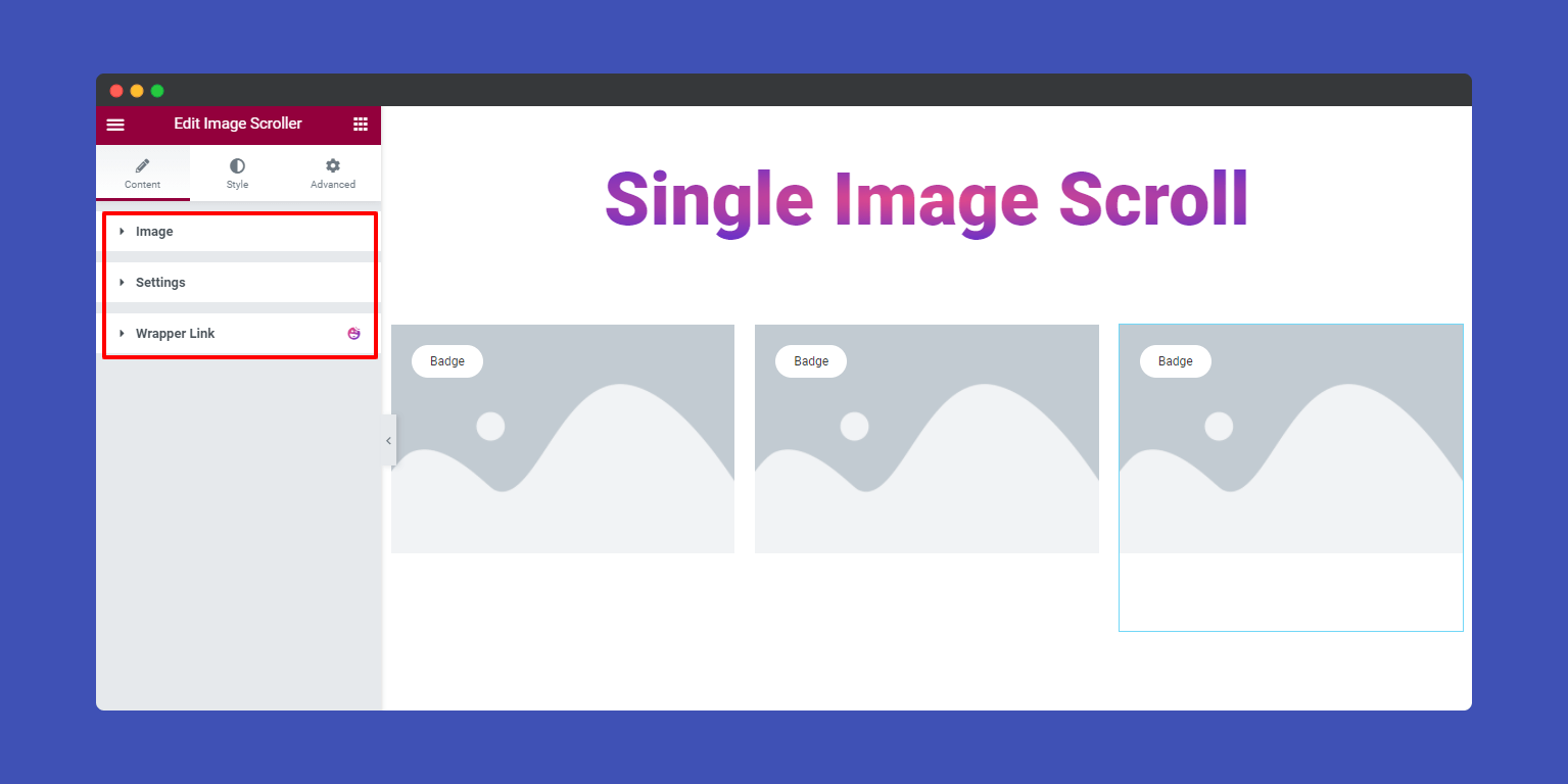 Content of Image Scroller