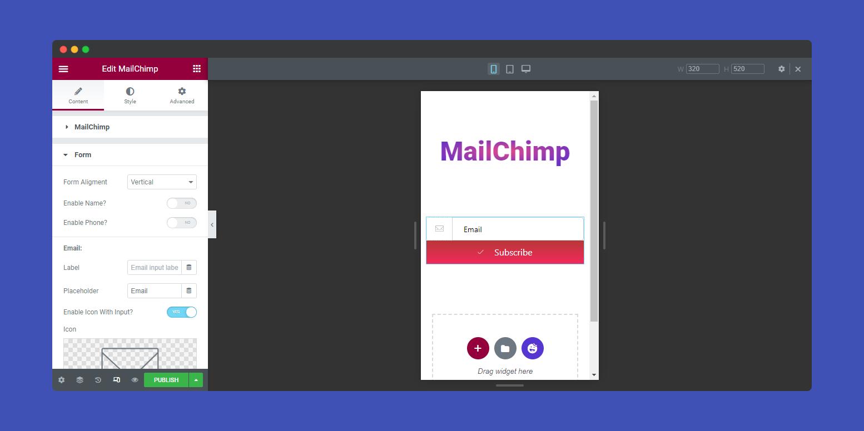 Vertical Form MailChimp