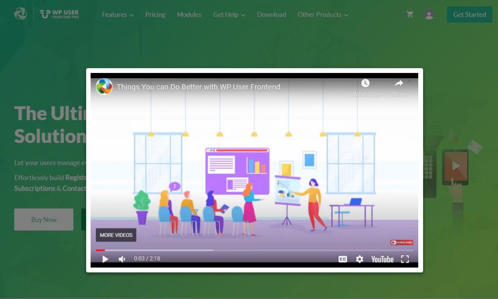 WPUF Homepage Video